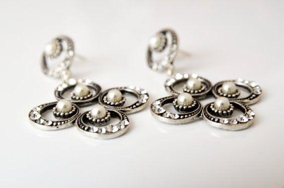 art deco clear crystal rhinestone pearl tibetan silver by sestras: Deco Clear, Pearl Tibetan, Wedding Ideas, Crystal Rhinestone, Tibetan Silver, Art Deco