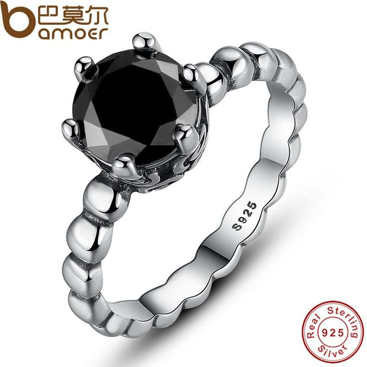 BAMOER Sterling Silver Ring Black Cubic Zirconia Jewelry //Price: $13.95 & FREE Shipping //     #love