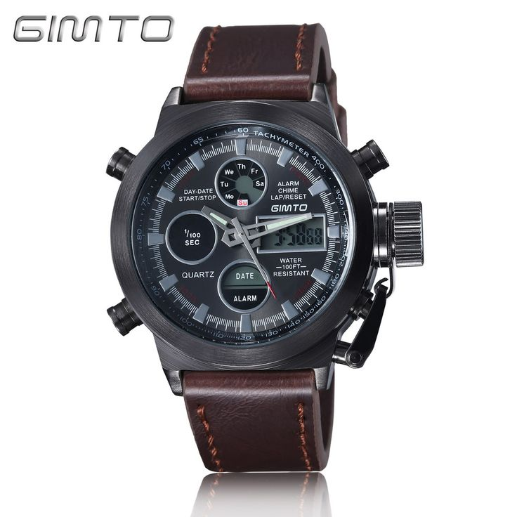 2016 Hot Brand GIMTO Quartz Digital Sports Watches Men Leather Nylon LED Military Army Waterproof Diving Wristwatch Reloj Hombre - Leather Black Brown Who like it ? Visit our store