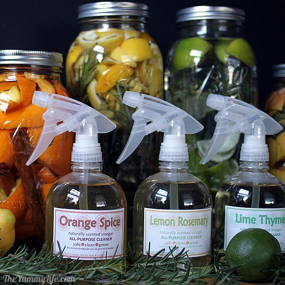 DIY Naturally Scented All-Purpose Cleaners. 4 varieties using vinegar, citrus, herbs, & spices. Printable tags, too! From TheYummyLife.com