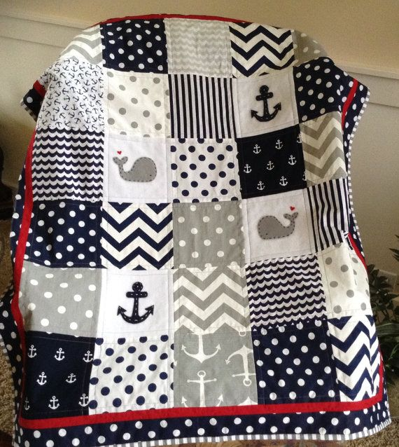 NAVY/GRAY/RED Nautical Nursery/Crib Size Quilt 38 by Lovesewnseams
