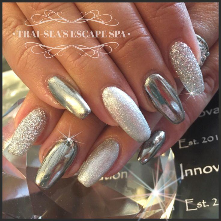 Chrome, glitter and metallic silver nail art by Trai-Sea's Escape Spa