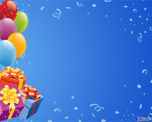 Free Birthday PowerPoint Template with balloons and blue background