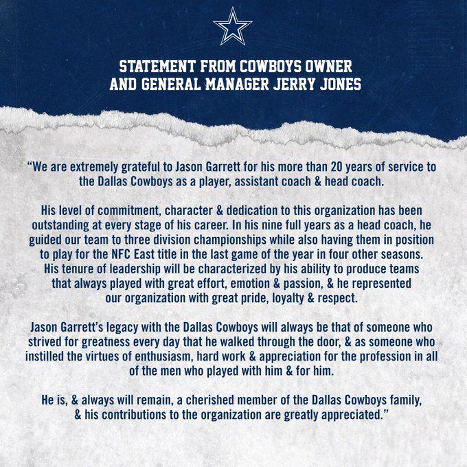 """(1) Dallas Cowboys on Twitter """"Thank You, Jason Garrett"""