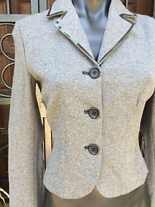 Cailag Designer Made In Italy Preloved Grey with Sequins Jacket Size Small