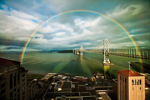 san francisco rainbow over the bay bridge
