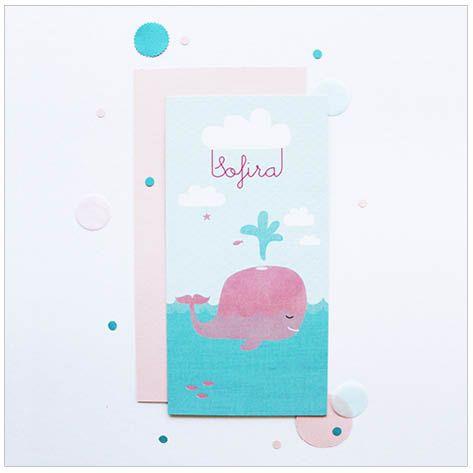 www.hetuilennestje.nl geboortekaartje Sofira: zee, walvis, blauw, roze, water, vis, wolken, natuur, meisje, dochter, zusje, illustratie, illustratief.
