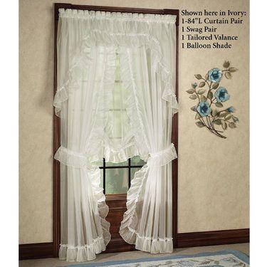 Jessica Ninon Priscilla Curtain Pair White