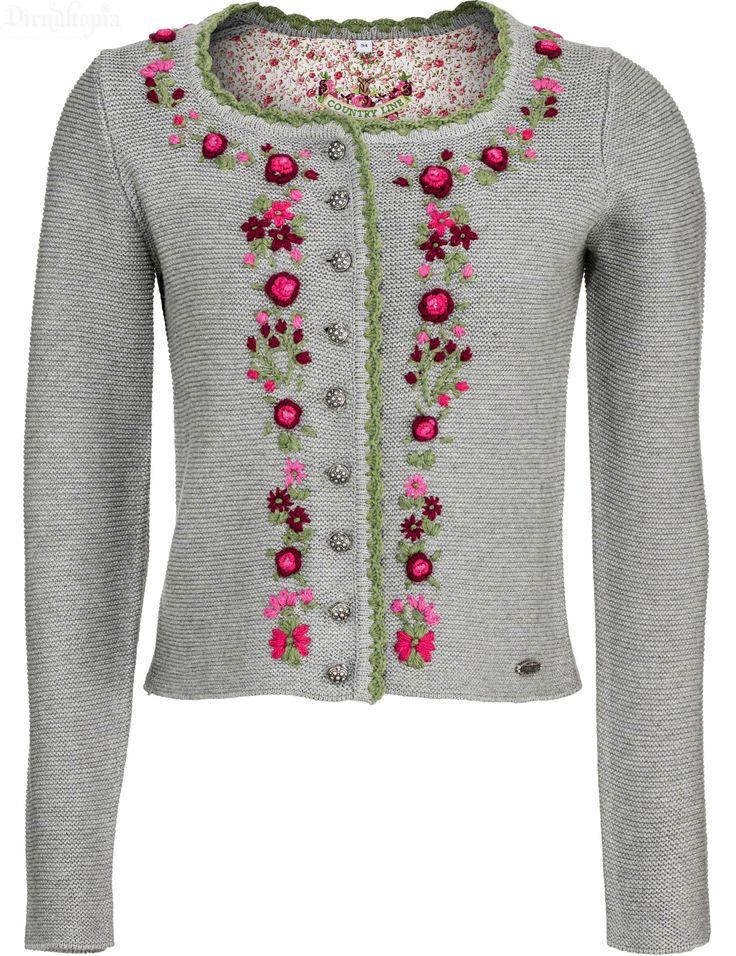 Kurze Trachtenjacke von Country-Line in Grau Strickjacke aus 100% Wolle…