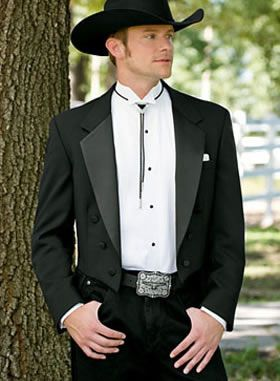 A man in a cowboy hat and a tux always cuts a fine figure. At Rex Formal Wear we have western style tuxes for every occasion.