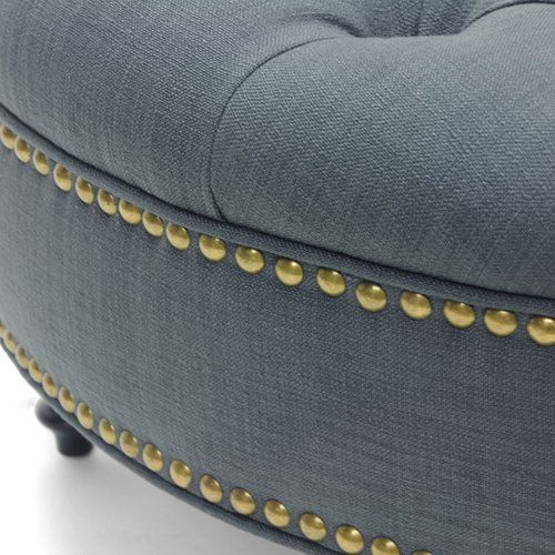 Baxton Studio Palfrey Round Ottoman   Ottomans At Hayneedle To Be  Reupholstered