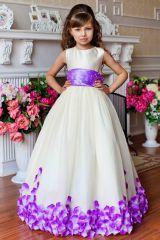 """Новогоднее платье для девочки """"Рузанна"""" (фиолетовые лепестки)"""