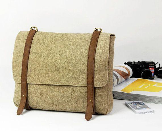 Camel Felt Shoulder Bag Messenger Bag Casual Bag Cross Body Bag School Bag with Retro Leather Straps E1761-MCa01 (scheduled via http://www.tailwindapp.com?utm_source=pinterest&utm_medium=twpin&utm_content=post16074540&utm_campaign=scheduler_attribution)