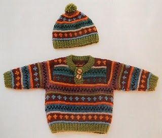 Lovely baby boy sweater and cap Fair Isle Knitting.