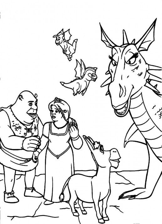 shrek fiona and donkey family coloring pages