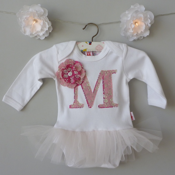 Image of Personalised Letter Organic Baby Girl Tutu Bodysuit £25, the new long sleeve bodysuits are here