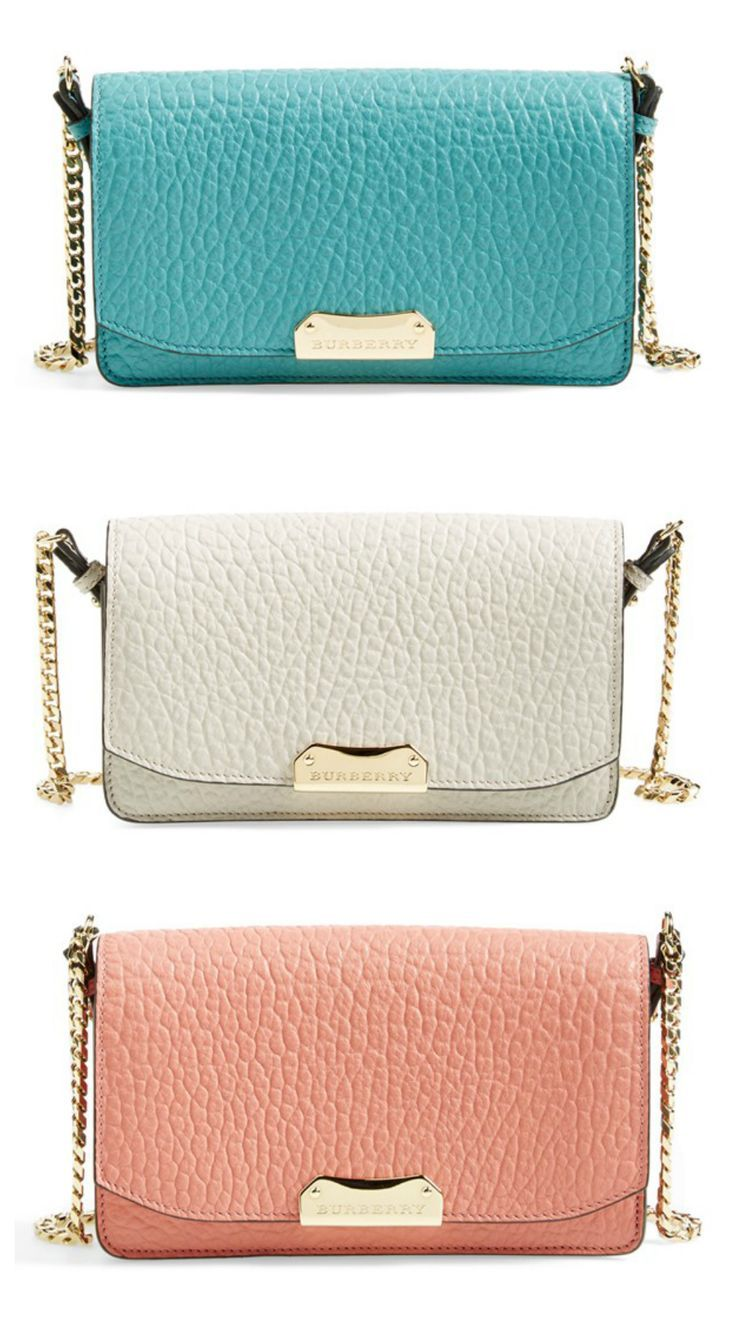 Trying to decide between aqua, white or pink. These Burberry beauties even come equipped with a twinkling chain strap for day-to-night versatility.