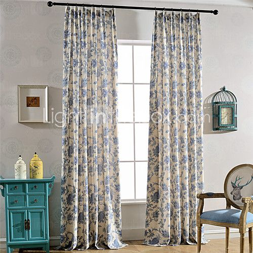 Linen Bright Coloured Flower Printing Curtain (Two Panel) - EUR €51.93