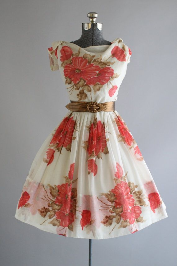 Vintage 1950s Dress / 50s Cotton Dress / YOUNG MODERNS Pink and Brown Floral Dress w/ Belt M