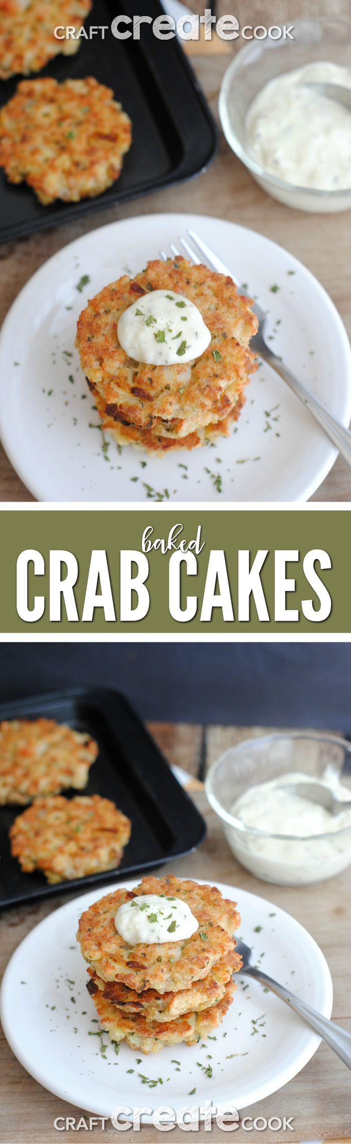 Baked crab cakes are easy to make, healthy and delicious! via @CraftCreatCook1