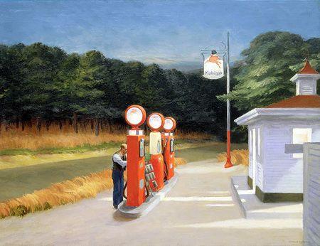 Gasolina El cuadro muestra una clásica gasolinera de carretera americana de los años 50. Llama la atención la vestimenta del hombre, de traje y corbata (como se acostumbraba muchas veces en aquellos años) y la ausencia del elemento que completaría el concepto, en este caso: automóviles.