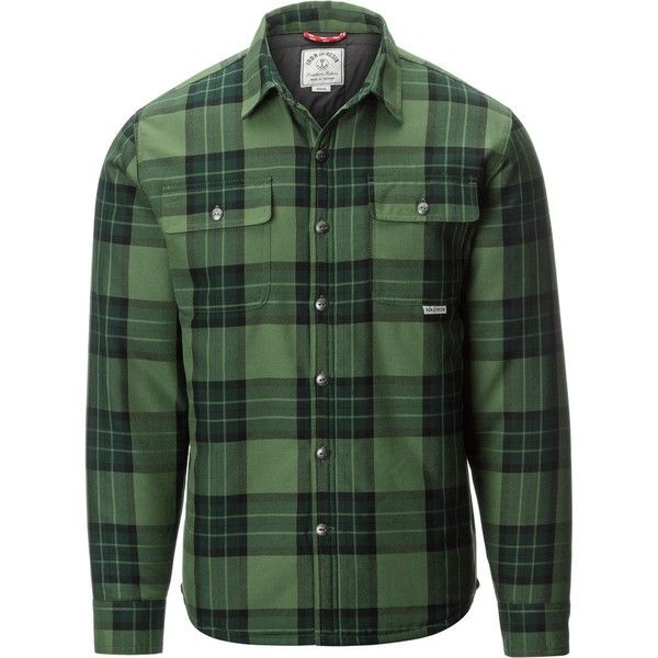 Iron and Resin Weldon Shirt Jacket (€60) ❤ liked on Polyvore featuring men's fashion, men's clothing, men's outerwear, men's jackets, mens jackets, mens quilted jacket, mens quilted flannel jacket and mens flannel jacket