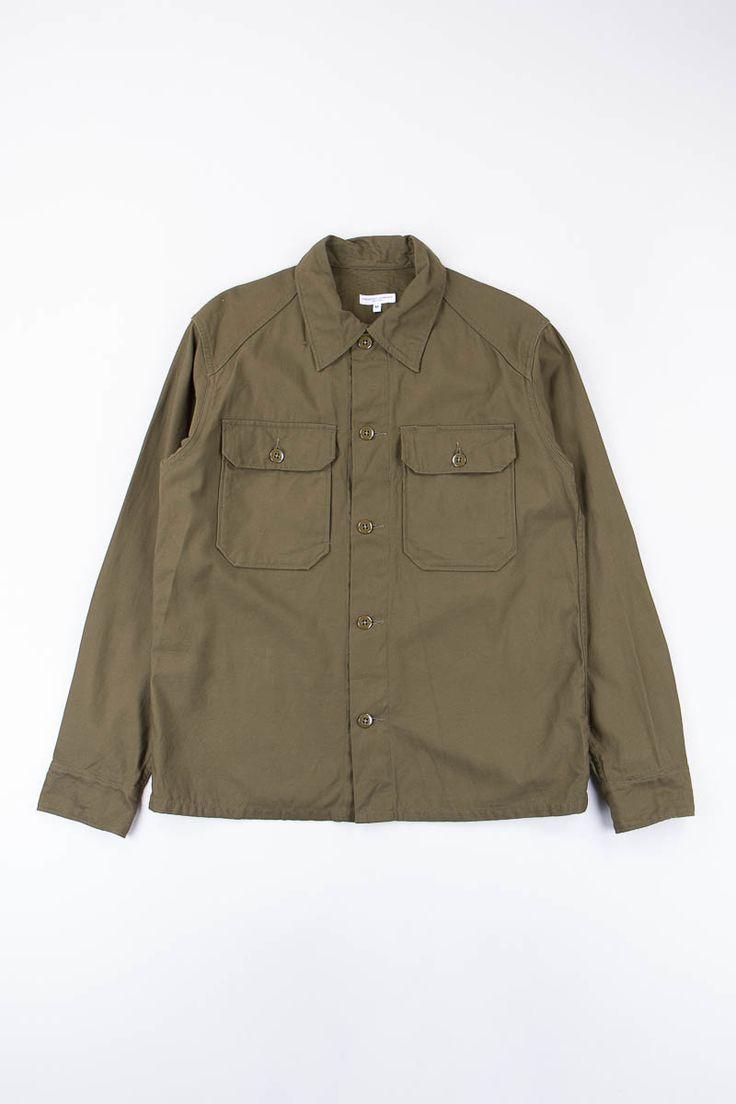 Engineered Garments Olive Reversed Sateen Field Shirt