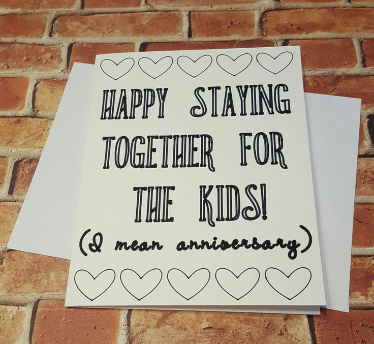 """Snarky Anniversary Card, """"Happy Staying Together For The Kids"""" Greeting Card, Cards, Funny by CheekyChickGifts on Etsy"""