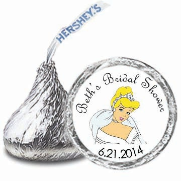 108 Personalized CINDERELLA Bridal Shower Party FAVORS Candy Kiss Labels Stickers. $8.00, via Etsy.