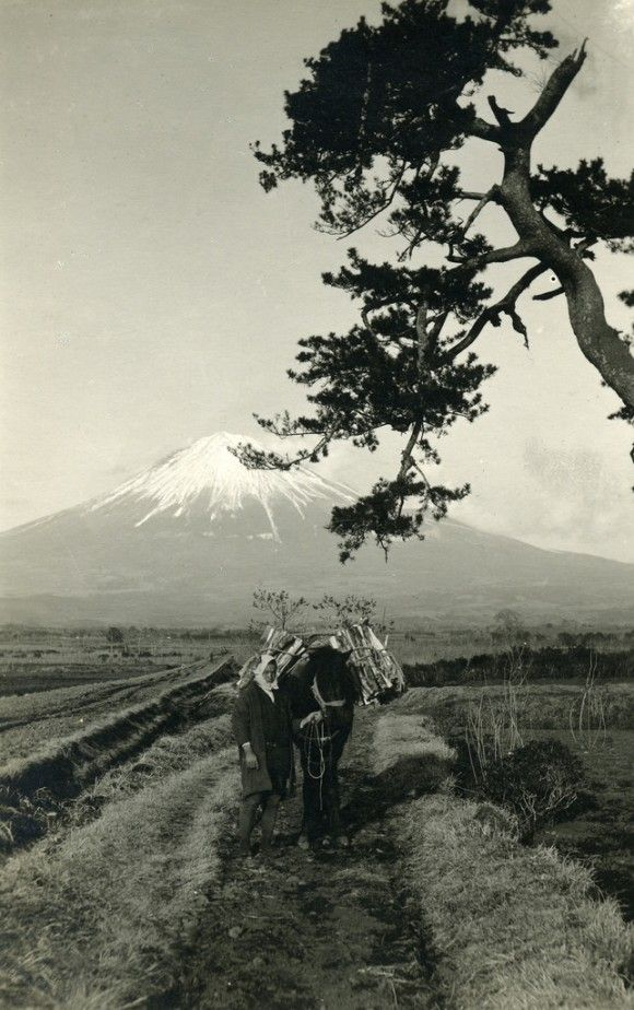 Farmers engaged in agricultural work at the foot of the Fuji 1918 - 1918年 富士のふもとで農作業を営む農民