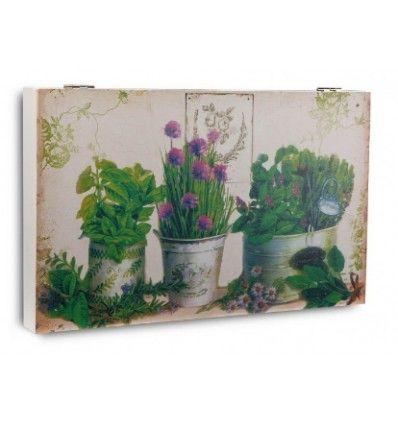 Tapacontador con cuadro de flores lavanda para tapar el cuadro de luces. 46x4,5x33cm. Material: Madera MDF