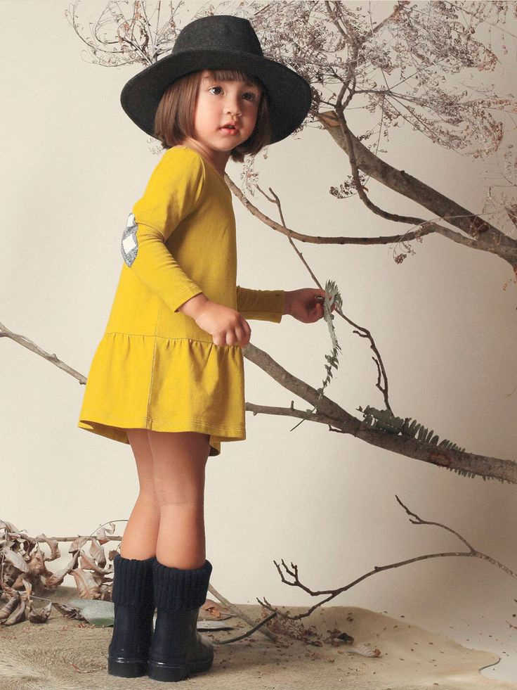 ORGANIC COTTON MUSTARD DROPPED WAIST DRESS