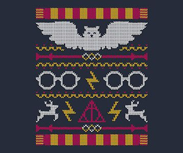 Harry potter Christmas sweater! Yes, I realize it's a knitting pattern, but they work surprisingly well as embroidery patters