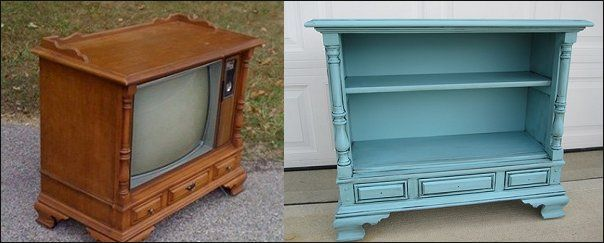 TV's used to be beautiful pieces of furniture, and weirdly sat on the floor. ????? but get hold of one and make a nice, new (well, old), UPCYCLED tv stand for your plasma. :D