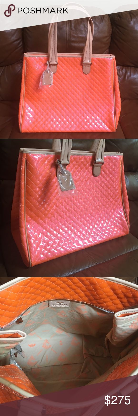 "New Consuela Candy Crush Tangerine Grand Tote Bag Hello, this is a fabulous Italian leather Consuela Grand Tote bag. It is brand new! The style is candy crush and the color is tangerine. Dimensions: 18.25"" (W) x 15"" (H) x 9.5"" (D); 11"" Drop. Double leather handles, full top zip, dust bag included. Please send me any questions, thanks! Consuela Bags Totes"