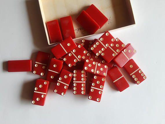vintage red dominoes  retro games  vintage dominoes original