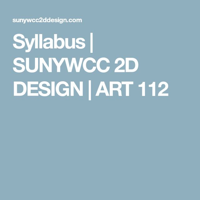 Syllabus | SUNYWCC 2D DESIGN | ART 112
