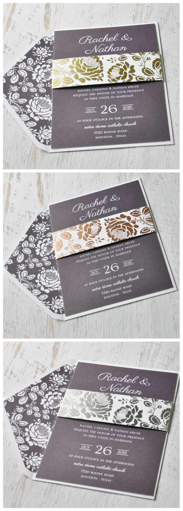 Vintage Flair Foil Invitation 887 best