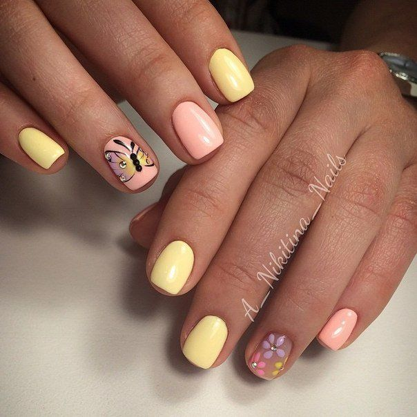 Butterfly nail art, Delicate spring nails, Gentle summer nails, Manicure by summer dress, May nails, Pale nails 2016, Pastel nails, ring finger nails
