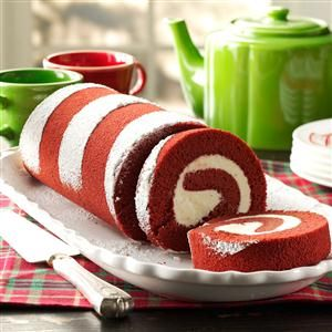 Red Velvet Cake Roll Recipe -Looking for something attractive and different for your next holiday party? This rich and sweet dessert will have mouths watering before you even set it down on the table.