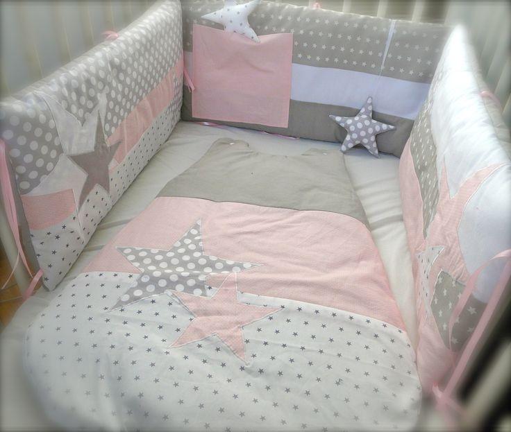 Tour de lit et gigoteuse 0-6 mois Etoiles rose et gris perles : Mode Bébé par little-fish-shop
