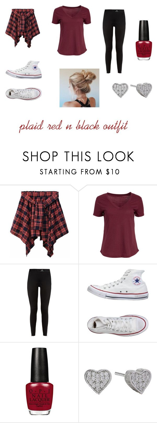 """plaid red n black outfit"" by lilyflips101 on Polyvore featuring Boxercraft, adidas and Converse"