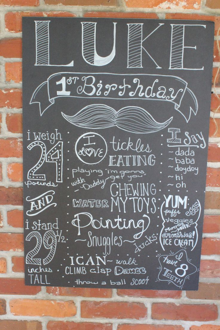 Chalkboard sign for mustache theme party. Hipster Mustache Bash Little Boy's First Birthday Party. This is the cutest mustache party! So many tiny details. Lots of great ideas for decorations and mustache food!