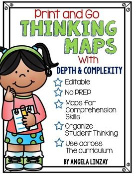 Thinking Maps help students to organize their thinking and to dig a little deeper into their learning. I LOVE using these maps in my classroom and have seen SUCH a difference in student comprehension of stories, skills, and concepts. This resource includes:- A teacher cheat sheet of the name of each map and a short description- A description of each map and its possible uses- Depth and complexity icons- Sample maps for all 8 Thinking Maps- Maps for comprehension skills, grammar skills…