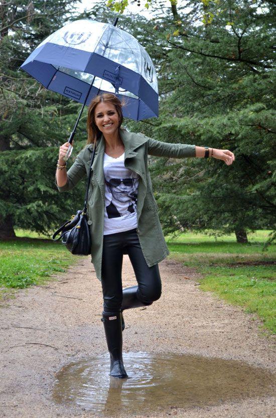 Paula Echevarría con botas hunter