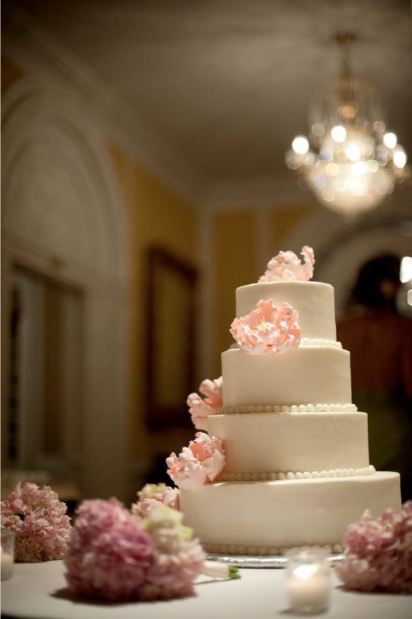 dots (not ribbon) at base of layers, blush sugar flowers