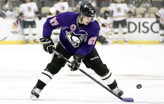 Sidney Crosby of the Pittsburgh Penguins wears a #HockeyFightsCancer jersey during warmups prior to the gam.
