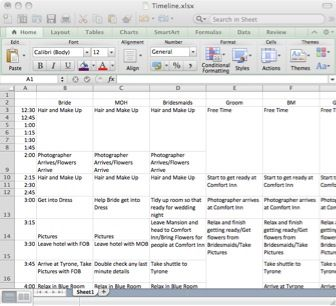 wedding day schedule - Download a template for creating a stress free wedding day schedule