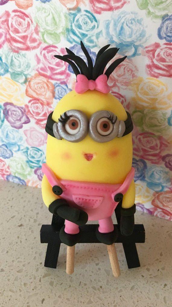 Girl minion cake topper / minion / minion cupcake by Toppers4you