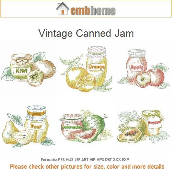 Vintage Canned Jam Machine Embroidery Designs Instant By Embhome
